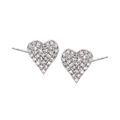 .20 ct. t.w. Diamond Heart Earrings in 14kt White Gold, , default