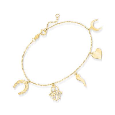 Italian 14kt Yellow Gold Lucky Charm Bracelet