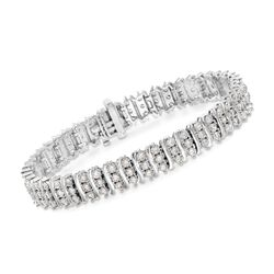5.50 ct. t.w. CZ Station Tennis Bracelet in Sterling Silver, , default