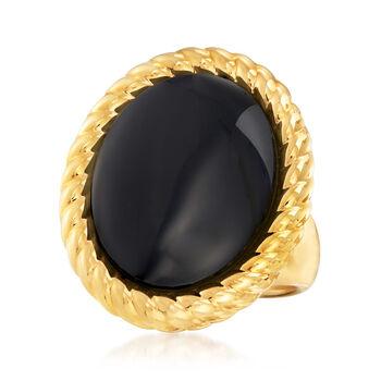 Italian Andiamo 14kt Yellow Gold and Black Onyx Ring