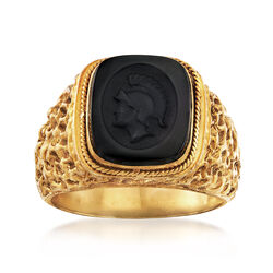 C. 1970 Vintage MenS Black Onyx Intaglio Ring in 18kt Yellow Gold, , default