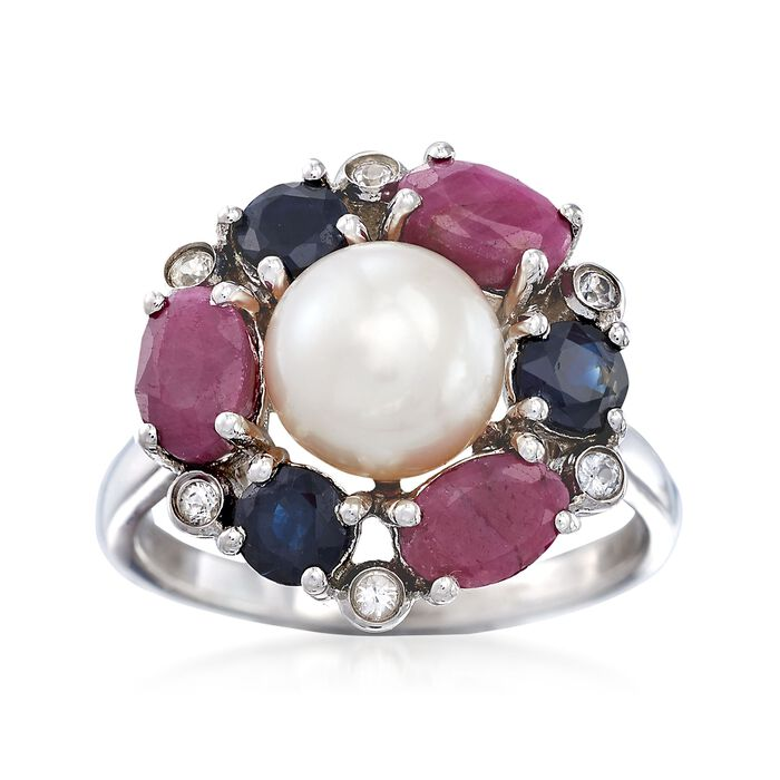 7.5-8mm Cultured Pearl and 3.50 ct. t.w. Multi-Stone Ring in Sterling Silver, , default