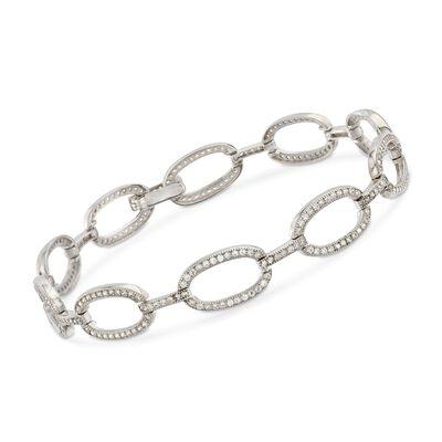 1.55 ct. t.w. CZ Link Bracelet in Sterling Silver, , default