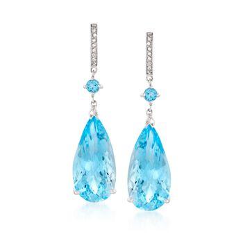 36.90 ct. t.w. Blue Topaz and .10 ct. t.w. Diamond Drop Earrings in Sterling Silver, , default