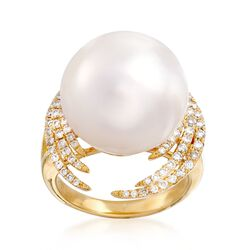 16mm Cultured South Sea Pearl and .64 ct. t.w. Diamond Halo Ring in 18kt Yellow Gold, , default