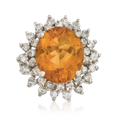 C. 1995 Vintage 6.90 Carat Citrine and 1.25 ct. t.w. Diamond Ring in 14kt White Gold, , default