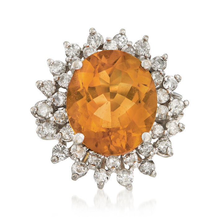 C. 1995 Vintage 6.90 Carat Citrine and 1.25 ct. t.w. Diamond Ring in 14kt White Gold. Size 6