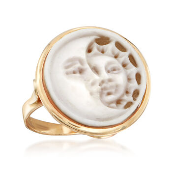 Italian Sun and Moon Shell Cameo Ring in 14kt Yellow Gold, , default