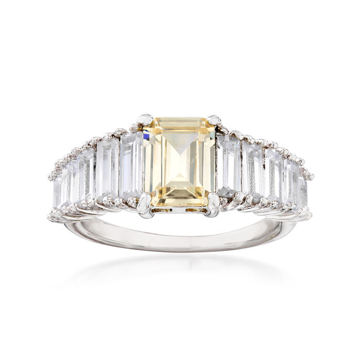 3.10 ct. t.w. White and Yellow CZ Ring in Sterling Silver