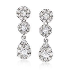 .69 ct. t.w. Pave Diamond Circle and Teardrop-Shaped Earrings in 14kt White Gold, , default