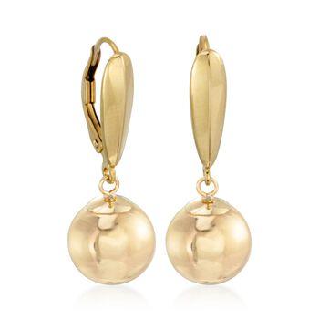 10mm 14kt Yellow Gold Ball Earrings, , default