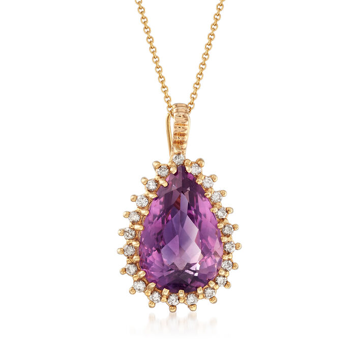 "C. 1980 Vintage 11.45 Carat Amethyst and .60 ct. t.w. Diamond Pendant Necklace in 14kt Yellow Gold. 16"", , default"