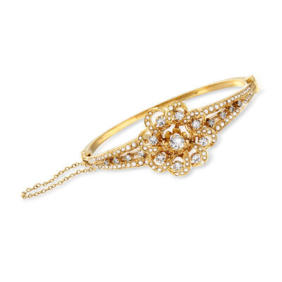 C. 1950 Vintage 1.55 ct. t.w. Diamond and Cultured Akoya Pearl Flower Bangle Bracelet in 14kt Yellow Gold, , default