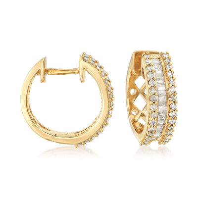 1.00 ct. t.w. Round and Baguette Diamond Hoop Earrings in 18kt Gold Over Sterling, , default
