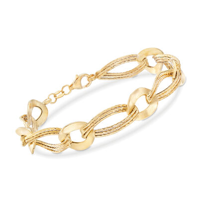 Italian 18kt Yellow Gold Oval and Twisted Link Bracelet, , default