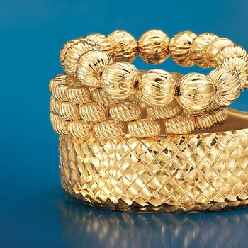 """Italian Andiamo 14kt Yellow Gold Ribbed Bead Bracelet with Magnetic Clasp. 8.25"""", , default"""