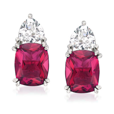 6.80 ct. t.w. Simulated Ruby and 1.50 ct. t.w. CZ Earrings in Sterling Silver, , default