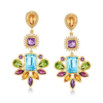 37.30 ct. t.w. Multi-Gemstone Chandelier Drop Earrings in 18kt Gold Over Sterling, , default