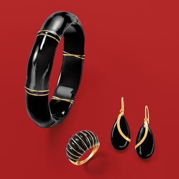Pear-Shaped Black Onyx Drop Earrings in 14kt Yellow Gold, , default