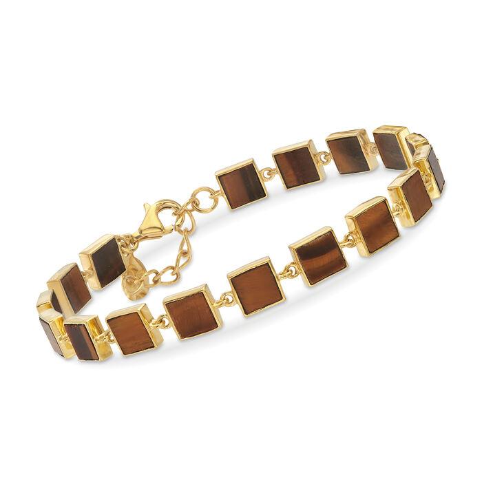 Tiger's Eye Square-Link Bracelet in 18kt Gold Over Sterling