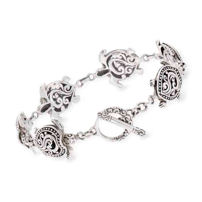 Sterling Silver Turtle Bali-Style Bracelet