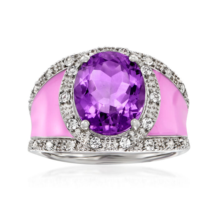 3.60 Carat Amethyst and .40 ct. t.w. White Topaz Ring with Fuchsia Enamel in Sterling Silver