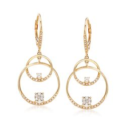 .46 ct. t.w. Diamond Double Circle Drop Earrings in 14kt Yellow Gold, , default