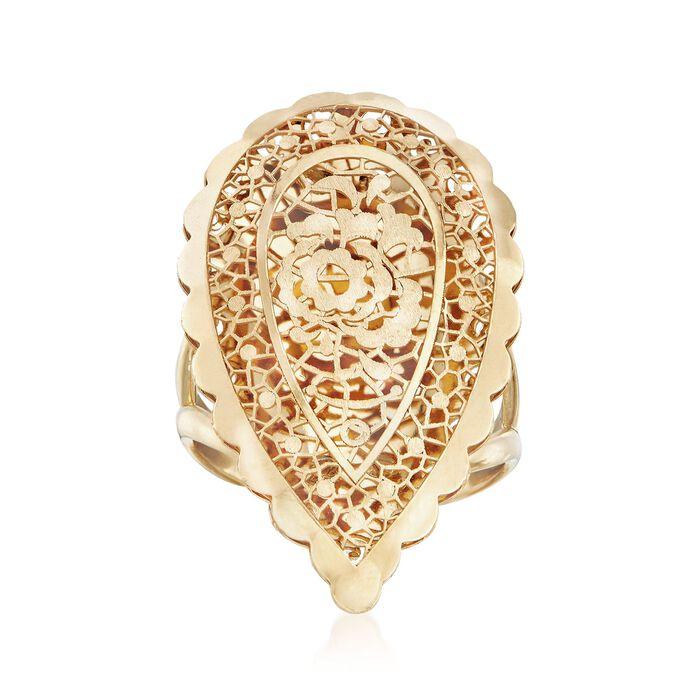 Italian 18kt Yellow Gold Openwork Floral Teardrop Ring, , default