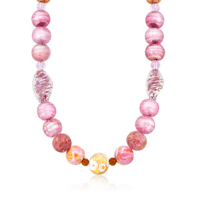 Pink Murano Glass Bead Necklace with 14kt Gold Over Sterling, , default