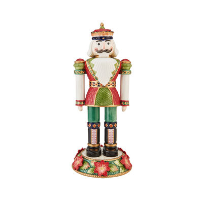 Fitz and Floyd Holiday Poinsettia Nutcracker Figurine, , default