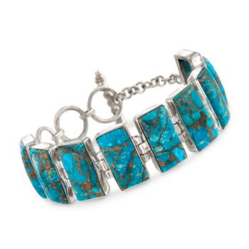 "Turquoise Toggle Bracelet in Sterling Silver. 7.5"", , default"