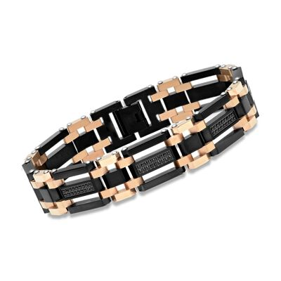 Men's Black and Rose Stainless Steel Link Bracelet with 1.10 ct. t.w. Black CZs, , default