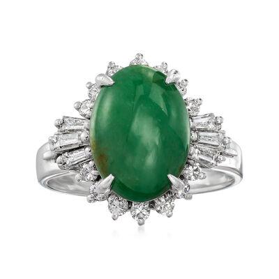 C. 1980 Vintage Jade and .44 ct. t.w. Diamond Ring in Platinum