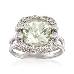 4.00 Carat Green Amethyst and .90 ct. t.w. White Topaz Ring in Sterling Silver, , default