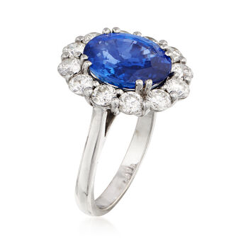 C. 2000 Vintage 5.69 Carat Sapphire and 1.60 ct. t.w. Diamond Ring in 18kt White Gold. Size 6.25