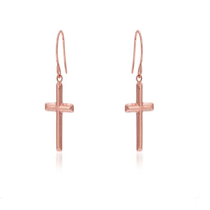 """14kt Rose Gold Dangle Cross Earrings. 3/4"""", , default"""