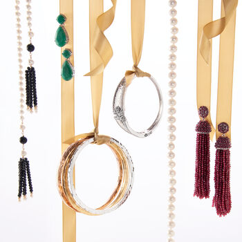 Italian Tri-Colored Sterling Jewelry Set: Three Square-Edge Hammered Bangle Bracelets, , default