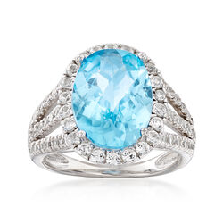 5.80 ct. t.w. Blue and White Topaz Ring in Sterling Silver, , default