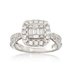 1.01 ct. t.w. Baguette and Round Diamond Ring in 14kt White Gold, , default