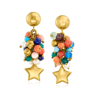 C. 1980 Vintage 3mm Cultured Pearl and Multi-Gemstone Beaded Star Drop Earrings in 18kt Yellow Gold