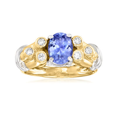 C. 1980 Vintage 1.50 Carat Tanzanite and .20 ct. t.w. Diamond Cocktail Ring in 14kt Yellow Gold