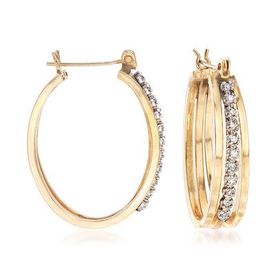 C. 1980 Vintage .20 ct. t.w. Diamond Hoop Earrings in 14kt Yellow Gold, , default