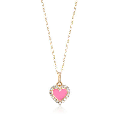 Child's Pink Enamel Heart Pendant Necklace with CZ Accents in 14kt Yellow Gold, , default