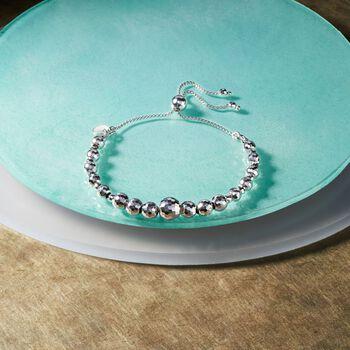 3-8mm Sterling Silver Faceted Bead Bolo Bracelet, , default