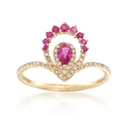 .40 ct. t.w. Ruby and .14 ct. t.w. Diamond Ring in 14kt Yellow Gold, , default