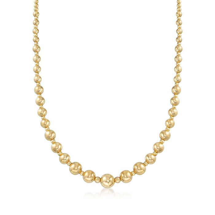 Italian 2.6-9mm 18kt Yellow Gold Bead Necklace