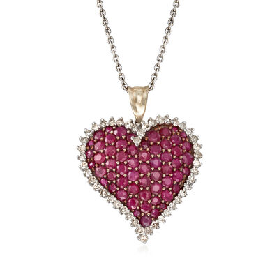 C. 1990 Vintage 2.00 ct. t.w. Ruby and .60 ct. t.w. Diamond Heart Pendant Necklace in 14kt White Gold, , default