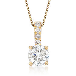 "1.00 Carat Diamond Pendant Necklace With .05 ct. t.w. Diamond Bale in 14kt Yellow Gold. 18"", , default"