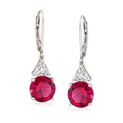 5.30 ct. t.w. Simulated Ruby and 1.00 ct. t.w. CZ Drop Earrings in Sterling Silver, , default