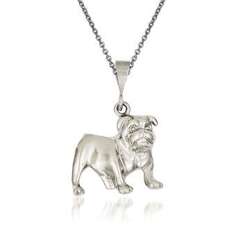 "14kt White Gold Bulldog Pendant Necklace. 18"", , default"